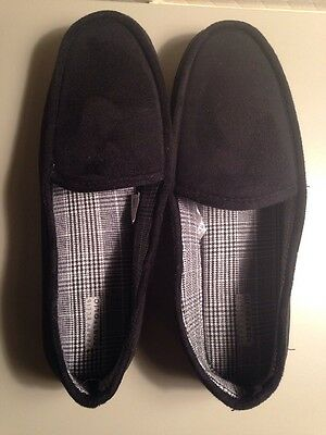 Perry Ellis Portfolio, Men's Microsuede Moccasin Slippers, Black Size XL (11-12)