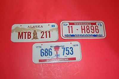 NEW Rare Vintage 1976 Bicentennial Mini Bicycle Bike metal license plate lot