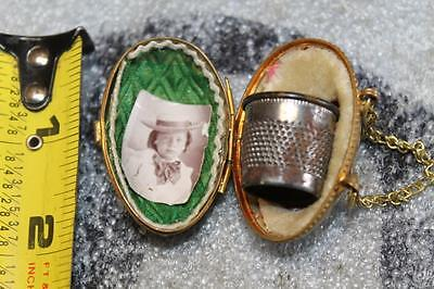 Late 1880's Antique French Needle Thimble Egg Case In Brass With Chain Ornate