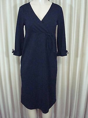 A14 Old Navy Maternity Dress S Solid Black Empire Waist 3/4 Sleeve Knee Length