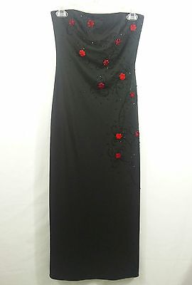 JS Boutique Women's Black Red Beaded Strapless Formal Gown Evening Dress Size 4