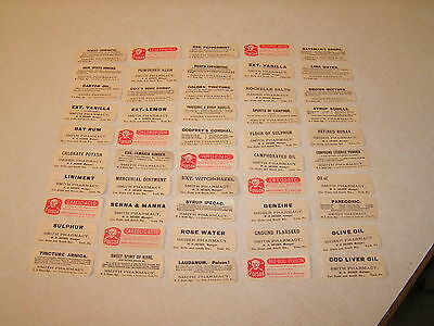50 Different Vintage Drug Story Pharmacy Medical Bottle Labels