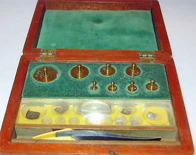 Vintage Balance Scale Weights In Wooden Box Kauffman Lattimer Lab Equipment