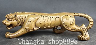 Chinese Folk Fengshui Pure Bronze Carving Zodiac Year Animal Tiger Tigers Statue