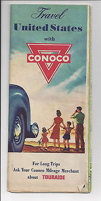 Conoco Gasoline Vintage Travel the US Highway Road Map