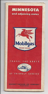 Mobilgas Gasoline Vintage Minnesota Highway Road Map