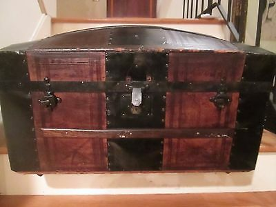 ANTIQUE UNUSUAL Camel Back Chest/Trunk Vintage WOOD AND METAL ON ROLLERS