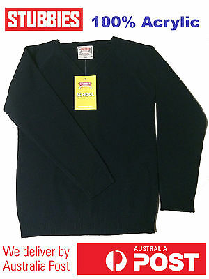 STUBBIES WARM Winter School Jumper 100% Acrylic NAVY BLUE 6 10 12 16