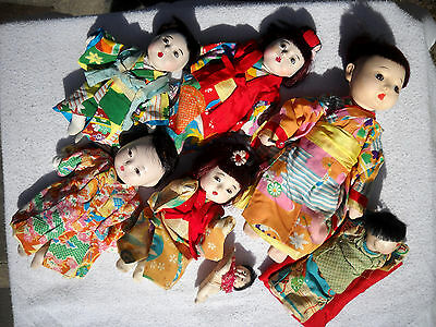 Lot 7 Vtg JAPANESE Composition GOFUN DOLLS ~ 6 with GLASS EYES Japan