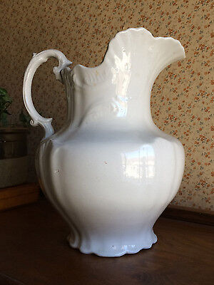 "ANTIQUE VICTORIAN 11"" TALL WHITE IRONSTONE POTTERY PITCHER JUG 1880s"