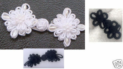 embroidered blk wht Chinese Frogs closure buttons LOT