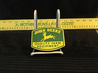 "John Deere Quality Farm Equipment 1950 Logo Trademark 2""x4""- Excellent Condition"
