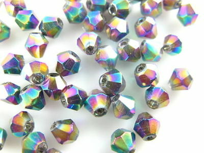 30pcs 8mm Colorized Plated Charms Faceted Bicone 5328# Crystal Glass Loose Beads