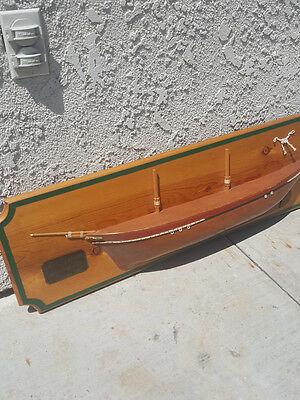 H.M.S. Victoria Half Hull Wood Model Ship Boat Made in 70s 3 Ft Long