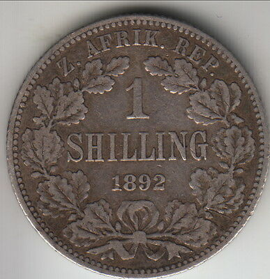 1892 South Africa (ZAR) silver shilling, first year, mintage 130,000, KM-5