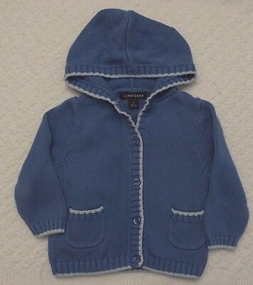 Lands' End 2T Girls blue hooded cardigan sweater pockets EUC warm cotton lands