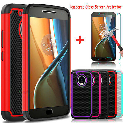 For Motorola Moto G5 Plus Slim Shockproof Hybrid Case + Glass Screen Protector