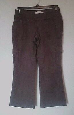 Womens Old Navy Maternity cargo pants size Medium, stretch, brown -3
