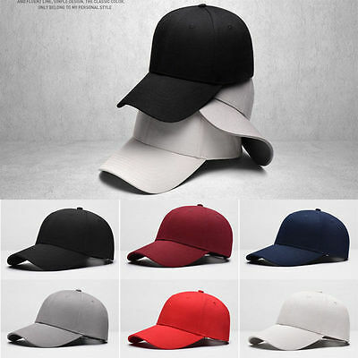 Plain Fitted Baseball Cap Curved Visor Solid Blank Color Caps Hat Hats Hot