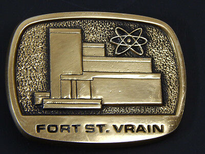 Fort St. Vrain Nuclear Generating Station Power Plant Brass Belt Buckle Vintage