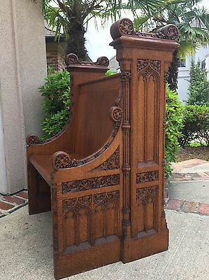 Antique English Carved Tiger Oak Gothic Church Pew Prayer Bench Dining Kitchen