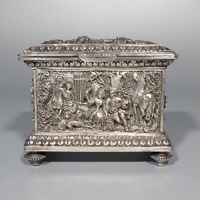 Antique FrenchSilverplatedJewelry Box, Hunting, Courting Scenes, Figures, Dog