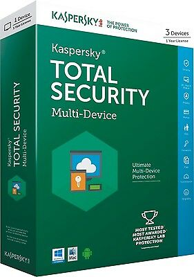 Kaspersky Total Security 2017 3 devices 1 Year  license key Global Worldwide
