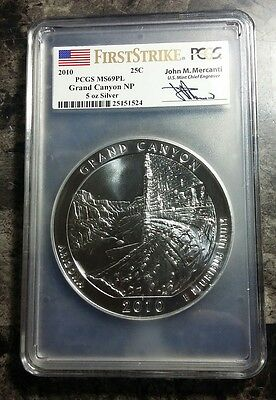 2010 Silver ATB Grand Canyon NP First Strike PCGS MS69 PL - 5oz Mercanti Signed