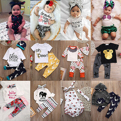 Newborn Infant Baby Boy Girl Child Clothes T-shirt Tops+Pants Outfits Set lot