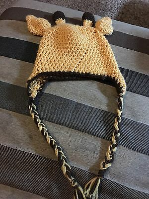 Crocheted Giraffe Kids Hat Fits 3-8 Years Old (Stretches)