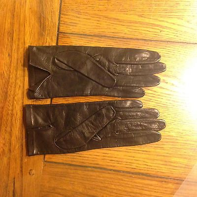 Vintage Black Leather Women Ladies Gloves Made In Italy Size: 7.5