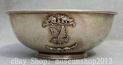 """6"""" Old Marked Chinese Palace Miao Silver Eagle King Bird Rice Wine Offering Bowl"""