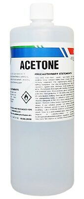 100% Pure Acetone 1L - Gel Acrylic Polish Remover - Thinner - Solvent