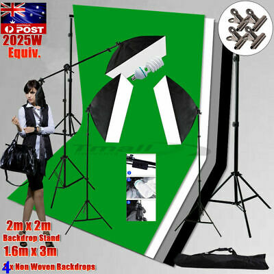 3PCS Photo Soft Box Lighting Stand 80cm Cube Tent Softbox 4X Backdrop+Tripod Kit