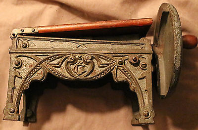 ANTIQUE Cast Iron GERMAN TOBACCO CUTTER GRINdER STEAMPUNK INDUSTRIAL  ART