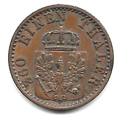 Prussia  1868C Pfennic Coin  -  G/ef Condition