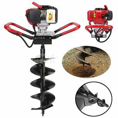 "One Man Gas Post Hole Digger Fencing Soil Drill Machine + 10"" Inch Auger Bits"