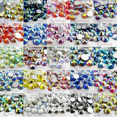 144Pcs Ss6-Ss30 Crystal Foil Flat Back Glass Rhinestones Non-Hotfix -Ab Sepcial
