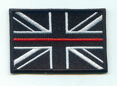 Thin Red Line - Fire Service - Union Flag Iron On Patch + Hook and Loop Backing