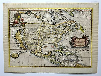 Antique Early Map North America - America Settentrionale 1688 Vincenzo Coronelli