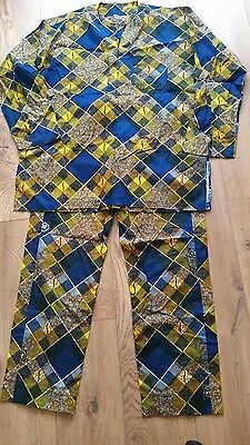 Men's African wax cotton tunic top and matching bottom set Size XL