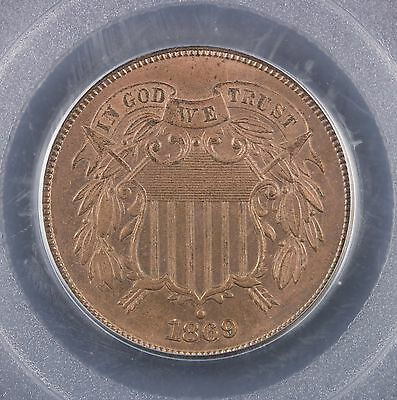 1869 Two Cent Piece PCGS MS 64 BN - Brown 2 cents