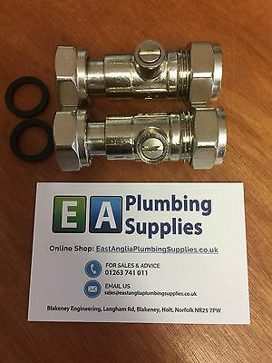 """15Mm X 1/2"""" Straight Service Valve / Tap Connector Pack X 2"""