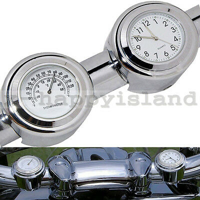 Waterproof Motorcycle Clock Watch Handlebar Dial Thermometer for Harley Davidson