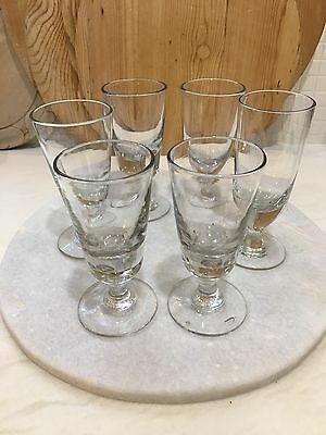 Antique French Hand Blown Cafe Wine Glasses - Set Of Six