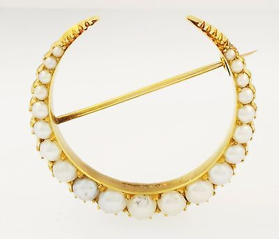 Antique 15Carat Yellow Gold Pearl Horseshoe Brooch