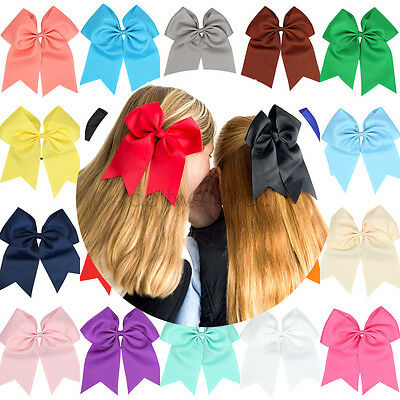 8 Inch Large Cheer Bows Hair Bands Girls Cheerleading Elastic Band Grosgrain