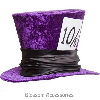 A789 Deluxe Purple Velvet Mad Hatter Alice in Wonderland Costume Jumbo Party Hat