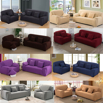 4 Seater Stretch Chair Sofa Loveseat Couch Protect Full Cover Slipcover Solid