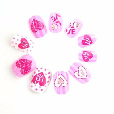 S20Pcs pots Hearts Kawaii Kids False Nails Cute Pre-glue Press on Nails